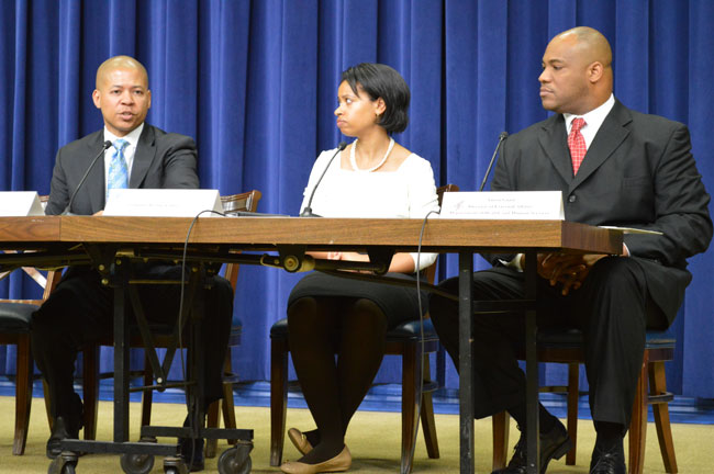 L-R: Damon Davis (Director for the Healthcare Initiative), Chiquita Brooks LaSure (Deputy Director, Consumer Information & Insurance Oversight), and Anton Gunn (Director, Office of Internal Affairs