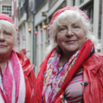 Retired twin prostitutes at the Red Light District in Amsterdan