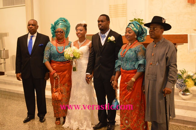 L-R: Chioma's Dad, Arinze's Mom, Chioma, Arinze, Chioma's Mom, and Arinze's Dad