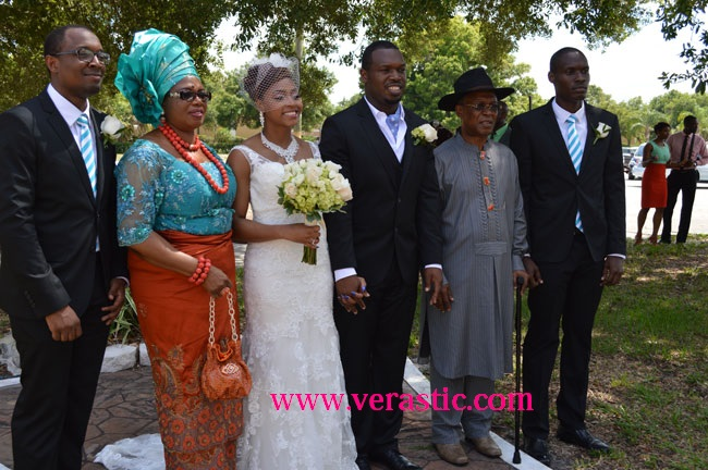 The couple with Arinze's family: Nonso (2nd son), Arinze's Mom, Chioma, Arinze (first son), and Chinedu (Baby of the home)
