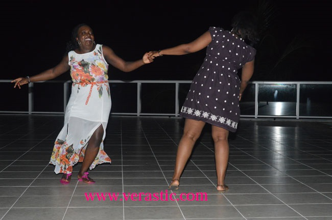 Funmie and Uju were dancing on the balcony at night