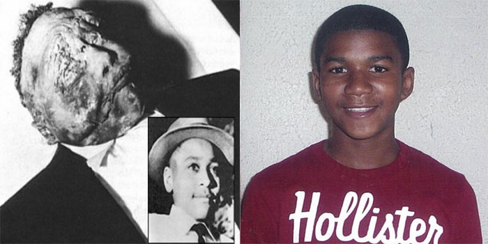 Emmett Till vs Trayvon Martin (and that's Emmett's before & after photo)