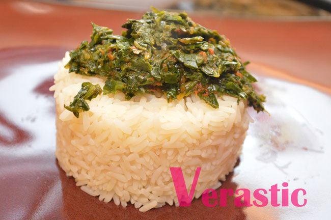 Efo and rice, ready to eat