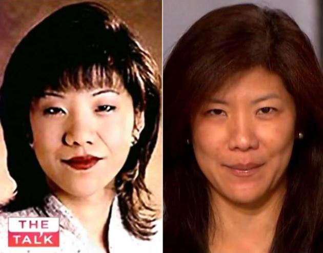 Julie Chen - with and without makeup. Image source: Daily News
