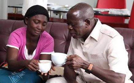 Governor Oshiomhole and the widow sipping tea. The world is okay again.