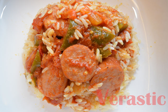 iCook: Fried Stew + White Rice With Johnsonville Andouille Sausages