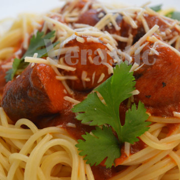Really up close and personal: Pasta With Johnsonville Smoked Brats.
