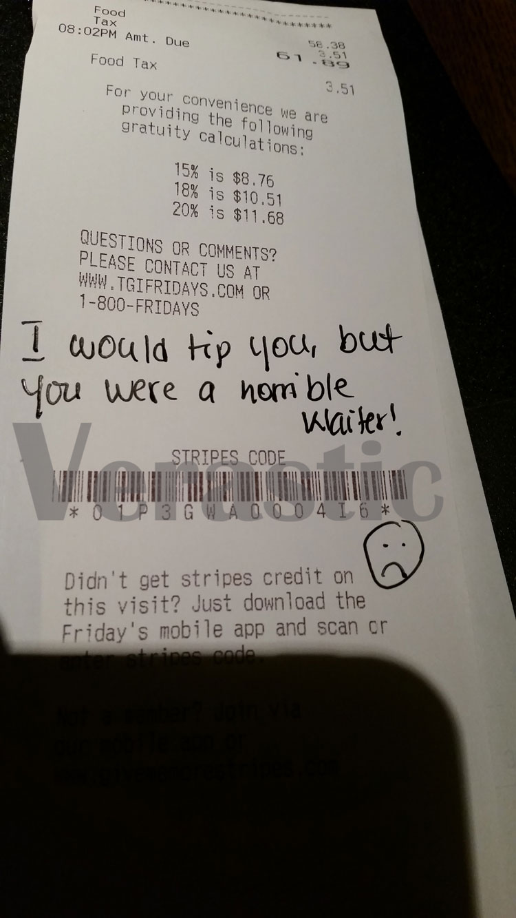 Waiter tipped with a bj