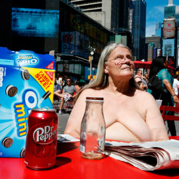 Topless woman at Times Square